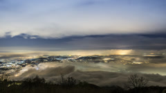 Time lapse, fog over the Varese lake Stock Footage