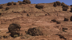 Landscape of Morocco with big stones, moving camera Stock Footage