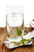 birch sap on table - stock photo