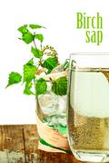birch sap on table - stock illustration