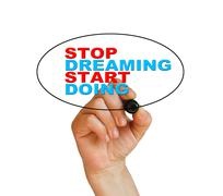 "Stock Illustration of ""stop dreaming start doing"""