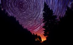 from dusk till dawn - star trails - stock photo