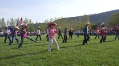 May Day school children line dancing HD 0303 Stock Footage