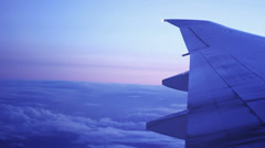 Above Clouds Plane Wing - stock footage