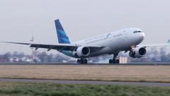 Stock Video Footage of 4K Garuda Indonesia Airbus A330 landing
