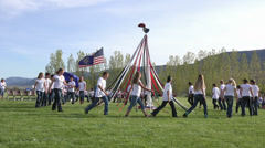 May Day School Kids May Pole Dance HD 0297 Stock Footage