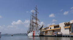 US Coast Guard schooner school sail ship the EAGLE in Pier 1 - Puerto Rico Stock Footage