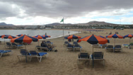Beach of Fuerteventura, Canary Islands, Spain on a cloudy day Stock Footage