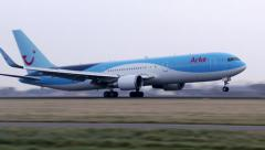 4K Arkefly Boeing 767 landing Stock Footage