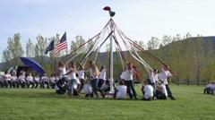 May Pole celebration children school fun HD 0300 Stock Footage