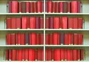 Stock Photo of red old hardcover books