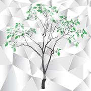 polygon vector tree background - stock illustration