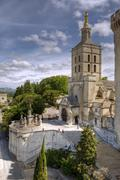 The Palais des Papes, an historical palace in Avignon, southern France - stock photo