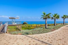 Promenade and viewpoint over shoreline in ashkelon, israel. Stock Photos