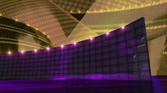 Disco virtual set stage dark gold Stock Footage