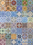 Set of 48 ceramic tiles patterns Stock Photos