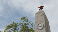 Monument of Gratitude at the Soviet army cemetery - Elblag, Poland 1 Stock Footage