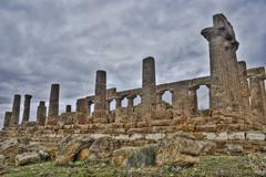 Greek temple of Agrigento in hdr - stock photo