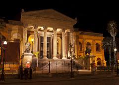 Theatre Massimo by night.Palermo Stock Photos