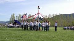 May Pole dance shool children HD 0298 Stock Footage