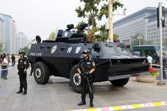 Chinese Special Police Deployed In Beijing Stock Photos