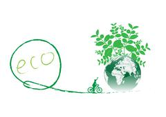 green earth with bike reduce co2 - stock illustration