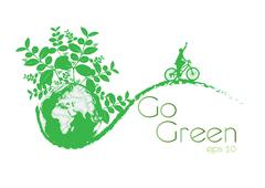 Green earth with bike reduce co2 Stock Illustration