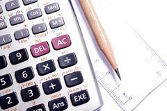 Close-up of ruler,calculator,and pencil,focus on pencil-tip Stock Photos