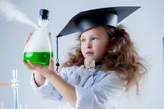Portrait of girl's passionate about science - stock photo
