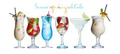 Alcoholic summer cocktails Stock Illustration