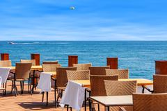 Restaurant on terrace with sea view in kemer, turkey. Stock Photos