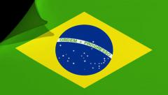 Brazil flag page curl transition Stock Footage