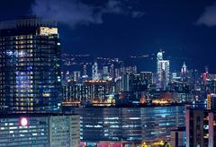 Hong kong downtown at night Stock Photos