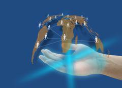 hand social network - stock photo