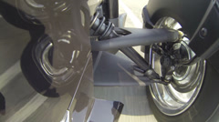 Front wheel of 3-wheels motorcycle  Stock Footage