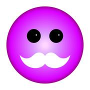 Purple Smiley Emoticon White Mustache Stock Illustration