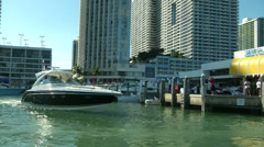 Boat maneuvering in Miami harbour  Stock Footage