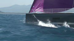 Sailing boat navigating in the sea  - stock footage