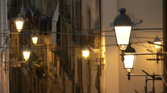 Street of Cagliari at night  Stock Footage