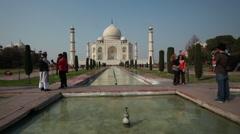 Timelapse on the Taj Mahal with people walking, Agra, India Stock Footage