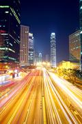 Stock Photo of traffic in downtown in hong kong at night