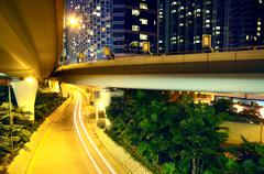 Downtown area and overpass in hong kong Stock Photos