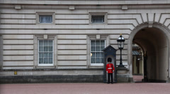 Wide of Queen's Guard at Buckingham Palace Stock Footage