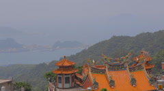 Pan of the the jiufen coast line Stock Footage