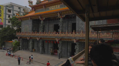 Pan from Fushan temple Stock Footage