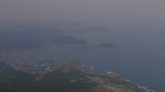 View of jiufens oceanfront from keelung mountain Stock Footage