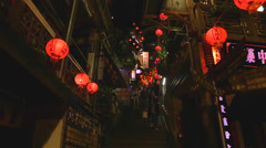 Low angle - Shuchi street red lanterns Stock Footage