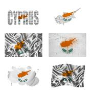 cyprus flag collage - stock illustration
