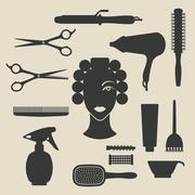 Hairdresser icons set Stock Illustration