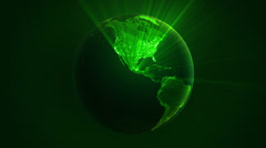 Spinning Earth with shinning city lights. Loop able. Green. Stock Footage